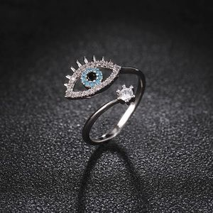 Evil Eye Adjustable Silver Ring